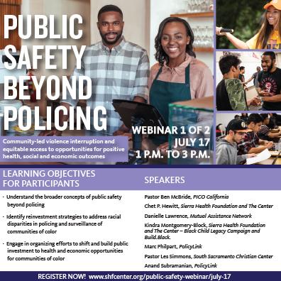 Public Safety Beyond Policing Webinar on July 17